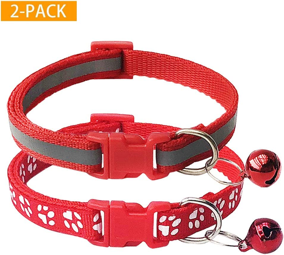 Cats, Dogs, Small Animals Reflective Cat Collar with Bell for Pets Durable Polyester by Prime Pet