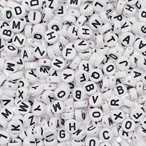 1000 Pieces White Round Acrylic Alphabet Letter