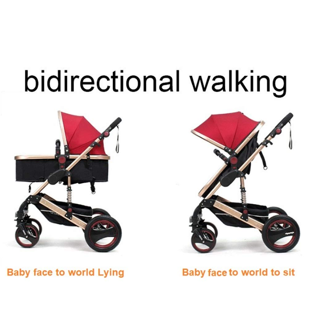 High-Landscape Bidirectional Walking Baby Strollers 3 in 1 Pram Travel Buggies Foldable Height-Adjustable Buggy Child Pushchairs (Color : Blue, Size : 34.6425.7841.53inchs) by LOFAMI-Strollers (Image #7)