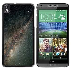 Gray Miscroscopic Estrellas - Metal de aluminio y de plástico duro Caja del teléfono - Negro - HTC DESIRE 816