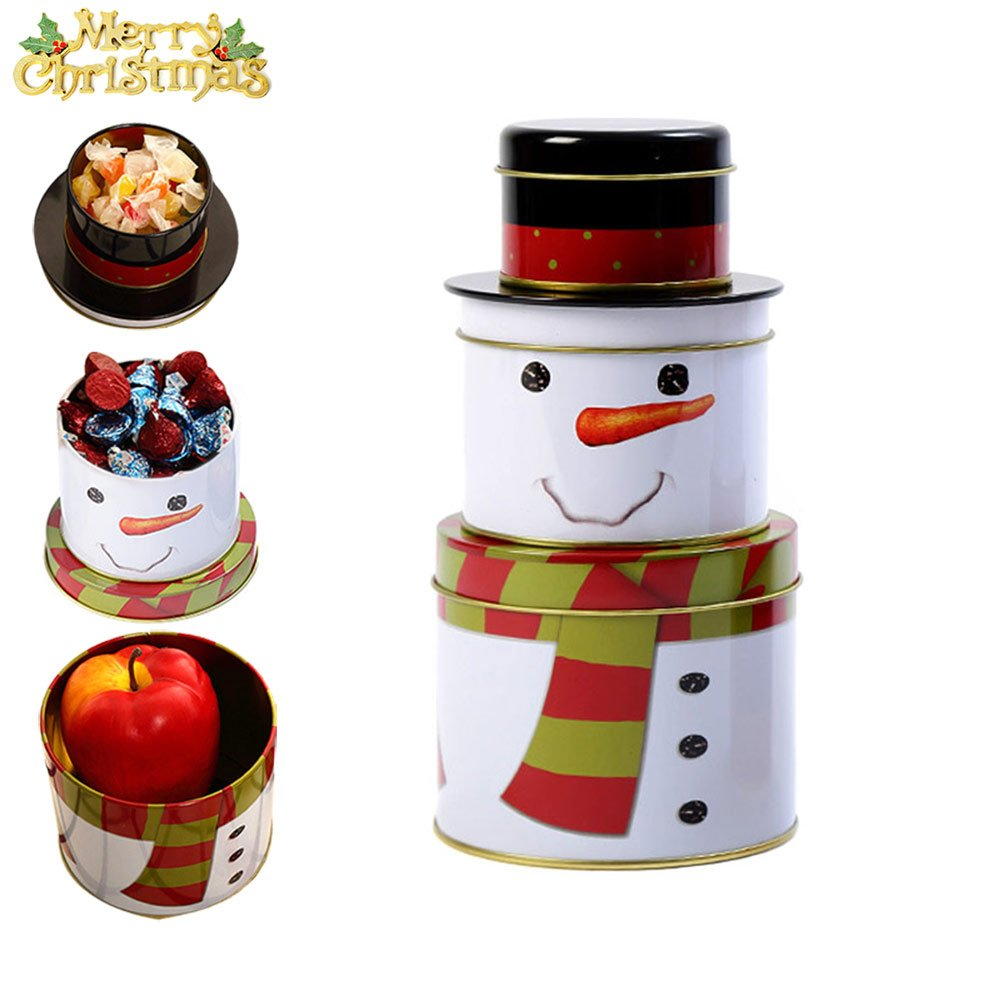 Amazon.com: Lznlink Christmas Candy Box Gift Santa Claus Snowman Biscuit Iron Case Xmas Party Home Decor: Home & Kitchen