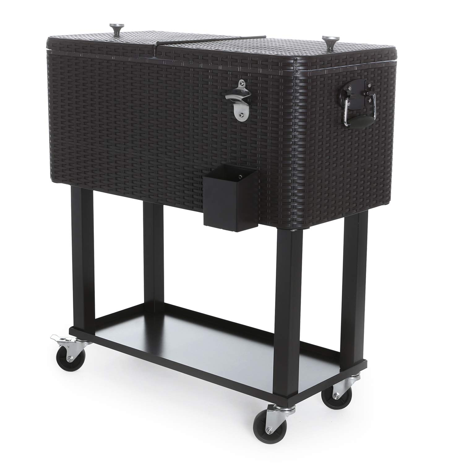CAIDE-STORE with a Free Cover 80 Quart Outdoor Portable Cooler Patio Ice Chest Cooler Cart on Wheel by CAIDE-STORE (Image #2)