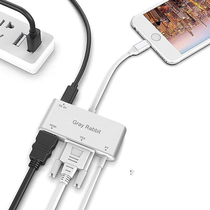 GrayRabbit Digtal AV Adapter for iPhone Xs//Max//X//8//7//6 Plus iPad Pro Air Mini iPod to HDTV Projector Monitor HDMI VGA AV Adapter Sliver