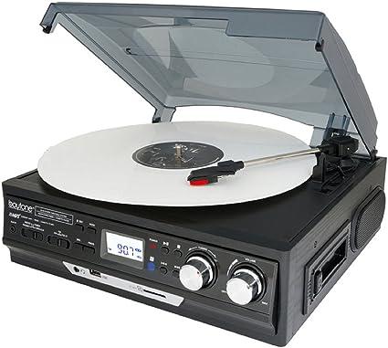 BOYTONE BT-19DJM-C Record Player Turntable AM FM Radio Cassette Wood REFURBISHED