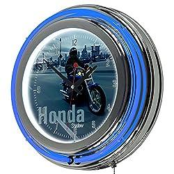Honda Shadow Chrome Double Ring Neon Clock, 14