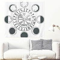 Tapiz de pared monocolor, fase de luna, vikingo, tótema, geométrico, runas y ciclo, símbolo artístico, para colgar en la…