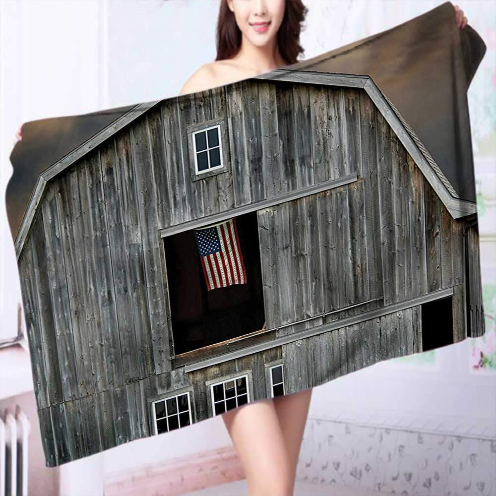 PRUNUS Organic Cotton Luxury Bath Towel Collection American Flag Flying in a Hayloft Window Wooden Old House Dark Evening Excellent Water Absorbent Antistatic