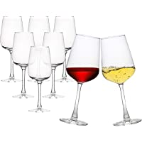 Set of 8 Wine Glasses, 12 Oz Durable Glassware, Lead Free Wine Stemware, Clear Wine Cups for Red and White Wine…