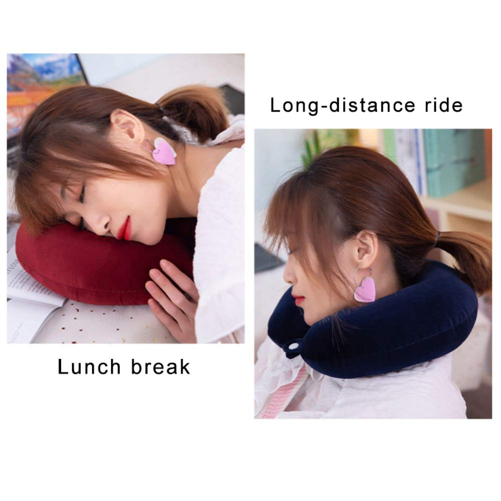 Jiecikou Travel Pillow U Shape Soft Cotton Neck Support Pillow for Office Traveling Random Color