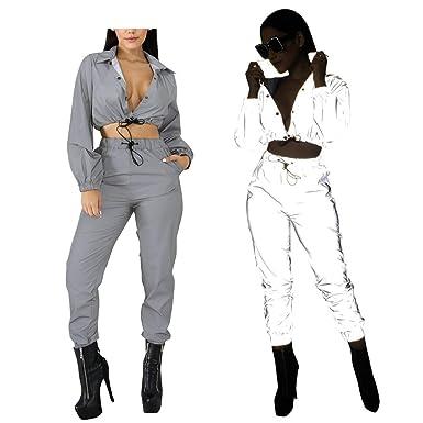Greetuny 1pcs Reflectantes Monos Mujer Fiesta/Reflectantes Traje Mujer Corto Chaqueta y Pantalones Guay Personalidad Tops Bar Fiesta
