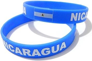 AccessCube Unisex País Bandera Nacional de Silicona Pulsera de Goma de Moda Pulsera Brazalete (Nicaragua): Amazon.es: Deportes y aire libre