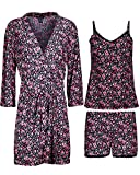 Rene Rofe Women\'s 3-Piece Pajama Set - Shorts, Cami and Robe, Pink Florals, Size Large'
