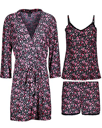 (Rene Rofe Women\'s 3-Piece Pajama Set - Shorts, Cami and Robe, Pink Florals, Size Large')