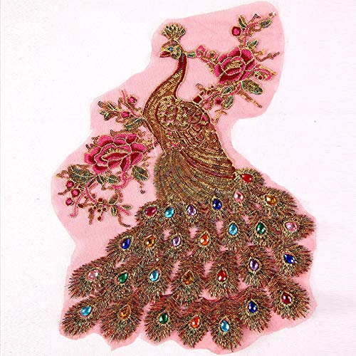 Handmade Embroidery Red Peacock Sew on Rhinestones Sequins Beads Applique Patches Phoenix Wedding Dress Accessory Sewing Crystal Decor for Evening Dress
