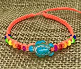 LAVIP Leather Anklet or Bracelet Blue Turtle Hemp Bracelet Turquoise Color Hawaiian Sea Cord Bracelet Rainbow Hemp (Fresh orange, 9)