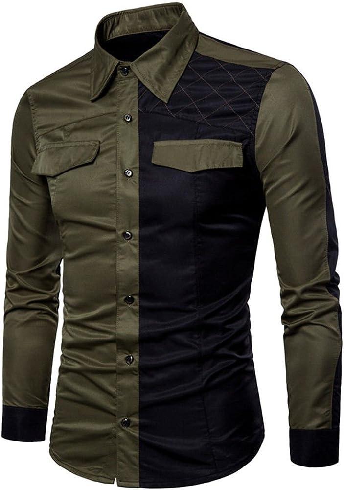 Usopu Camisa de Manga Larga Slim fit Casual Color Block para Hombre, Verde Militar, M: Amazon.es: Ropa y accesorios
