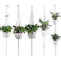 UTSLIVE 5PCS Macrame Plant Hanger Simple Design Indoor Indoor Hanging Plant Holder