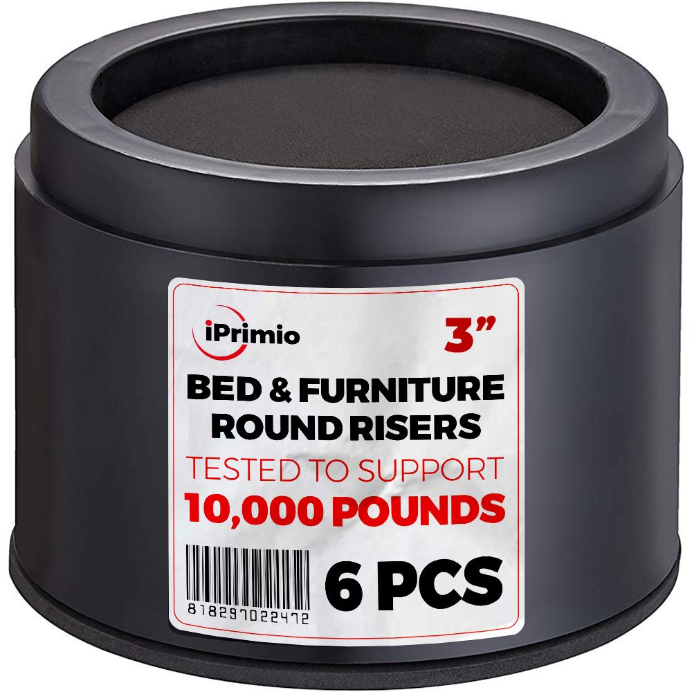 """iPrimio Bed and Furniture Risers – 6 Pack Round Elevator up to 3"""" & Lifts Up to 10,000 LBs - Protect Floors and Surfaces – Durable ABS Plastic and Anti Slip Foam Grip – Non Stackable – Black"""