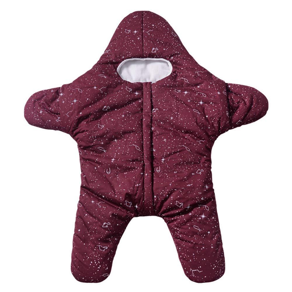 QinMM Saco de Dormir para Recién Nacido Bebé Niño Niña Invierno Estrella de mar Manta Swaddle