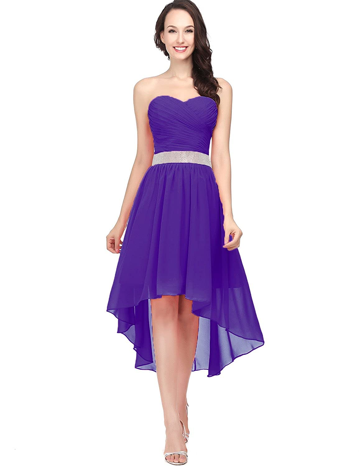 400purple Sarahbridal Women's Tulle HiLow Beading Prom Dresses Evening Homecoming Cocktail Gowns