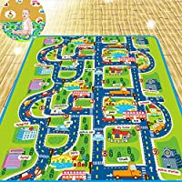 Autbye Kid Rug Play Mat Cushion Extra Large Soft Carpet for Infants Baby Children Educational Road Traffic City Life Playing With Cars and Toys (160CM)