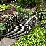 Home Improvements Weathered Black Finish Metal 6 Foot Garden Bridge Outdoor Yard Lawn Landscaping