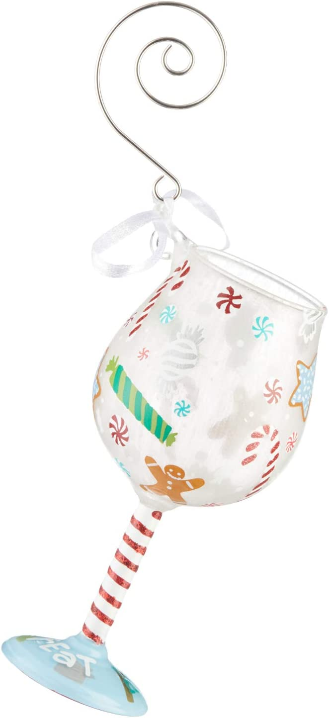Enesco Designs by Lolita Holiday Treat Miniature Wine Glass Hanging Ornament, 4.13 Inch, Multicolor