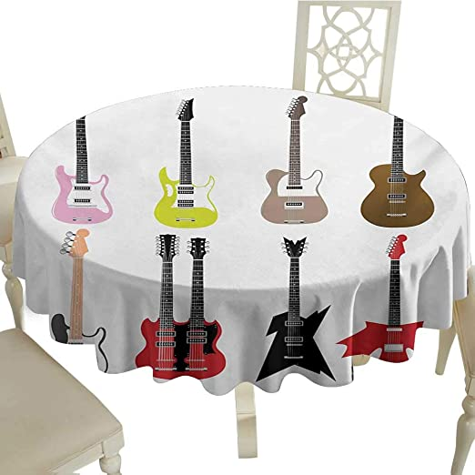 Mantel Redondo para Exteriores, diseño de Guitarra, Color Verde ...