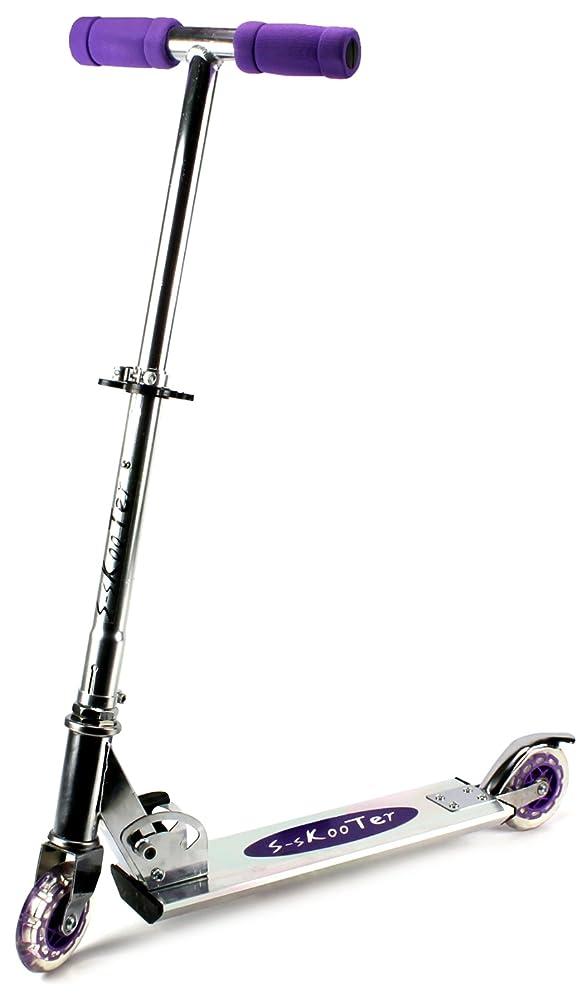 S-Skooter Children's Two Wheeled Metal Toy Kick Scooter w/ Adjustable Handlebar Height, Rear Fender Brake (Purple)