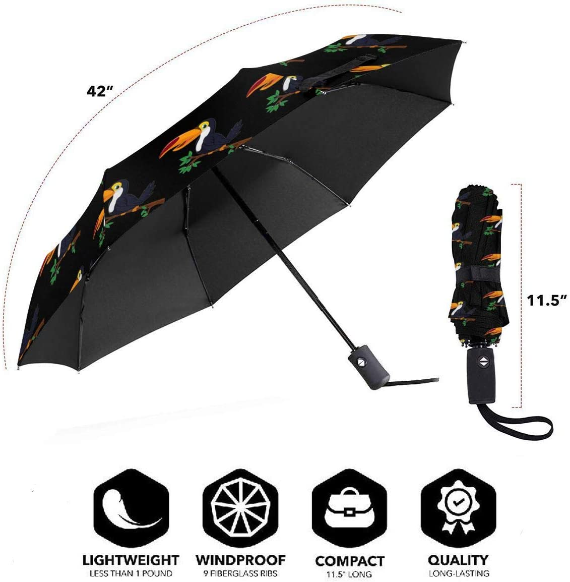 Toucan Automatic Tri-Fold Umbrella Parasol Sun Umbrella Sunshade