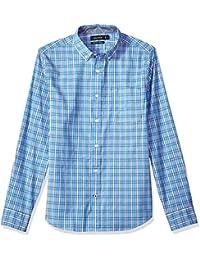 Men's Long Sleeve Plaid Stretch Slim Fit Button Down Shirt