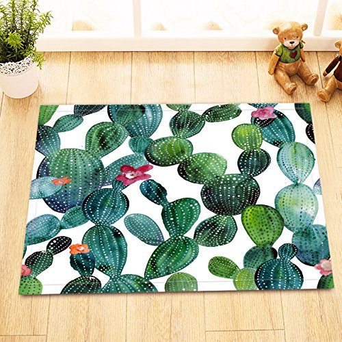 LB Green Cactus Blossom Print Small Rug for Toilet, Non Slip Rubber Backing Soft Microfiber Surface, Cute Bunny Ears Cactus Succulent Plant 15 x 23 Inches, ()