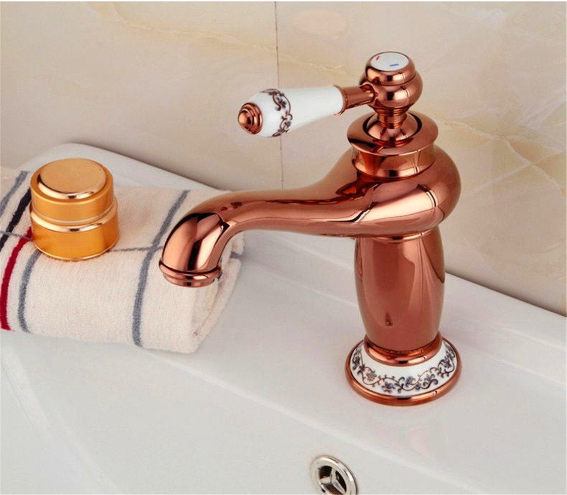 SADASD Modern Bathroom sink faucet Copper Kitchen sink faucet Can redate Double Single Hole Single Handle Hot and Cold Water Ceramic Valve Core Tap With G1 2 Stainless Steel Hose