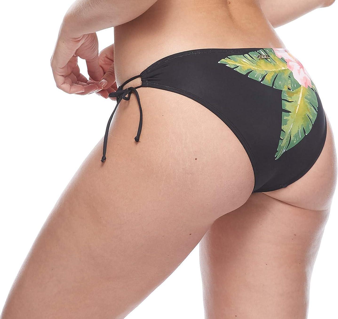Skye Women's Juliana Classic Bikini Bottom Swimsuit with Adjustable Side Loops Bora Bora Black Floral