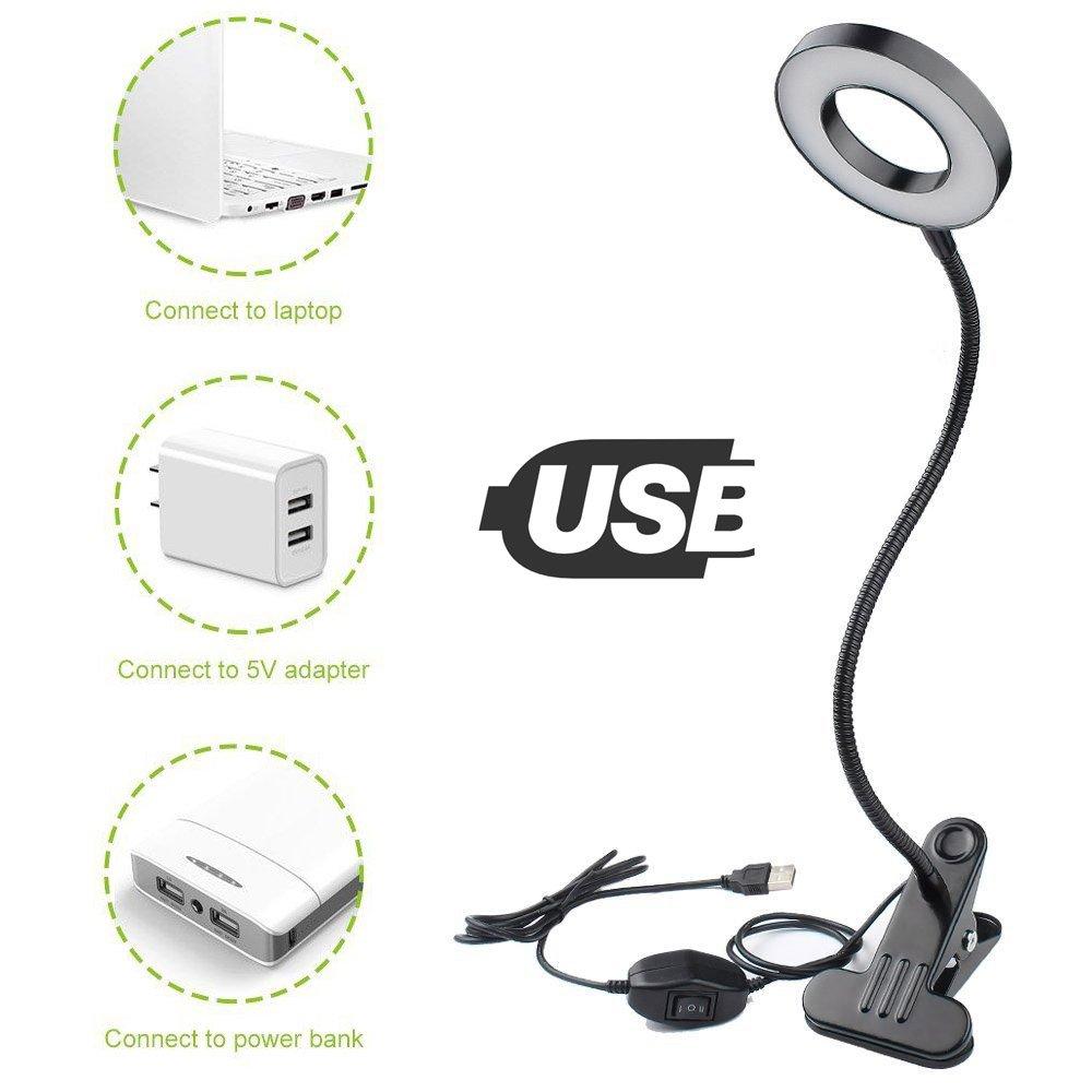 Headboard and Computers Portable Eye-Care Desk Lamp USB Plug Night Light Clip on for Desk Bedside Reading Light Mofek Clip on Light