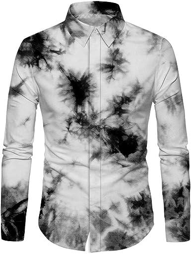 HURVXDWAQ Camisa de Manga Larga para Hombre, diseño de Hojas ...