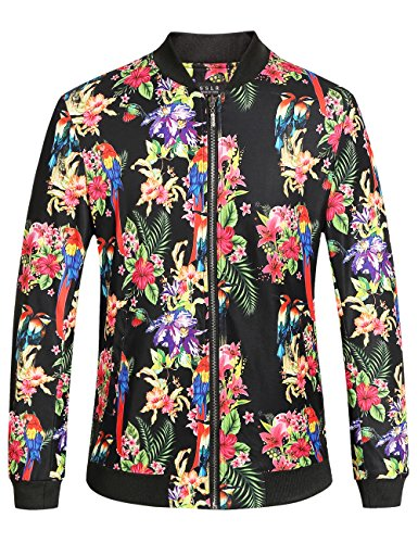 SSLR Men's Floral Casual Bomber Hawaiian Jacket (Medium, - Mens Short Bomber