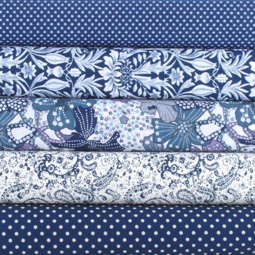 Fat Quarter Fabric Bundle. Navy Blue and White Printed Fabrics. 5 ... : quilt fabric uk - Adamdwight.com