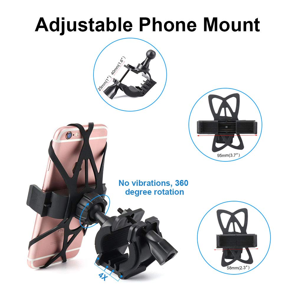 kemimoto Motorcycle Phone Mount Bike Holder Bicycle Handlebar Mount Compatible with iPhone x// 8//7// 7s// 6// 6s Plus Samsung Galaxy s9// s7// s6// s5// Note 8 Android Devices Adjustable Universal