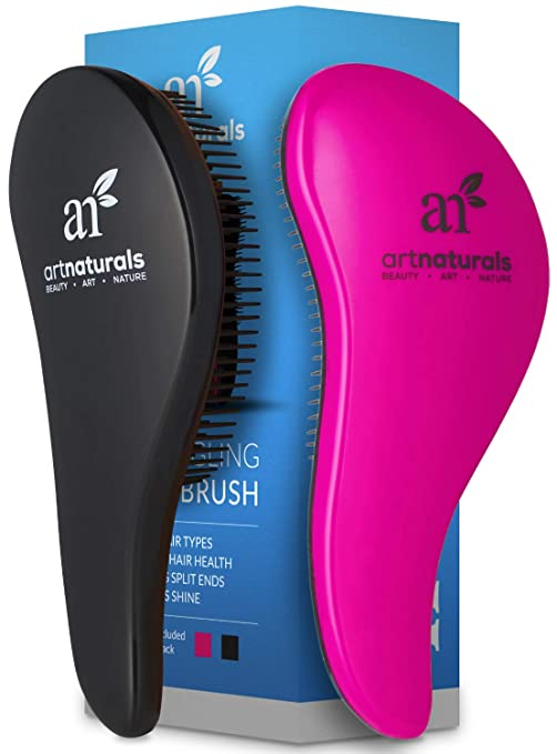ArtNaturals Detangling Hair Brush Set - (2 Piece Gift Set - Pink & Black) - Detangler Comb for Women, Men and Kids - Wet & Dry – Removes Knots and Tangles, Best for Thick and Curly Hair – Pain Free best hairbrushes