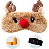Spaufu Cartoon Furry Sleep Mask with Elk Pattern Eye Mask for Sleeping Adults Kids Relieve Fatigue Lightweight Eyeshade Blackout Breathable Blindfold Eye Patch 1pack