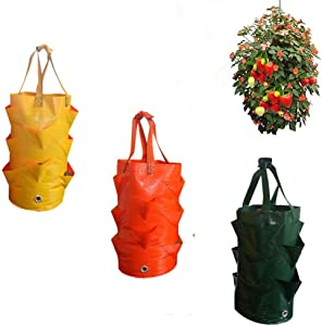 Buwico 3 Pack Strawberry Plant Bag Strawberry Grow Bags Hanging Strawberry Planter 3 Gallons Hanging Garden Planter for Strawberry Bare Root Plants, Herbs, Flowers Home Decoration