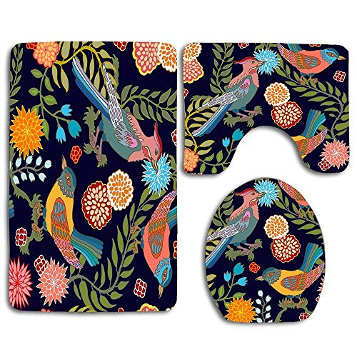 - NEWcoco 3-Piece Bathroom Set Bath Mat Rug Lid Toilet Covers Toilet Seat Cushion Decor Non-Slip Japanese Garden Seamless Oriental Pattern with Victorian Motifs