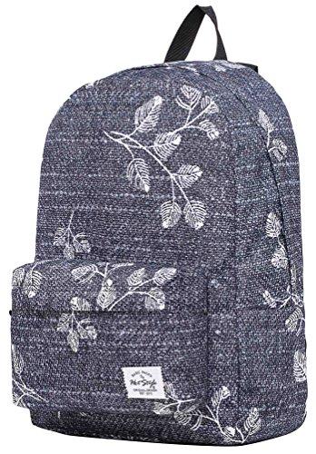 SIMPLAY Mochila Escolar Clásico | 44x30x12,5cm | Estampada de moda | Flor D203K, Hojas de gris