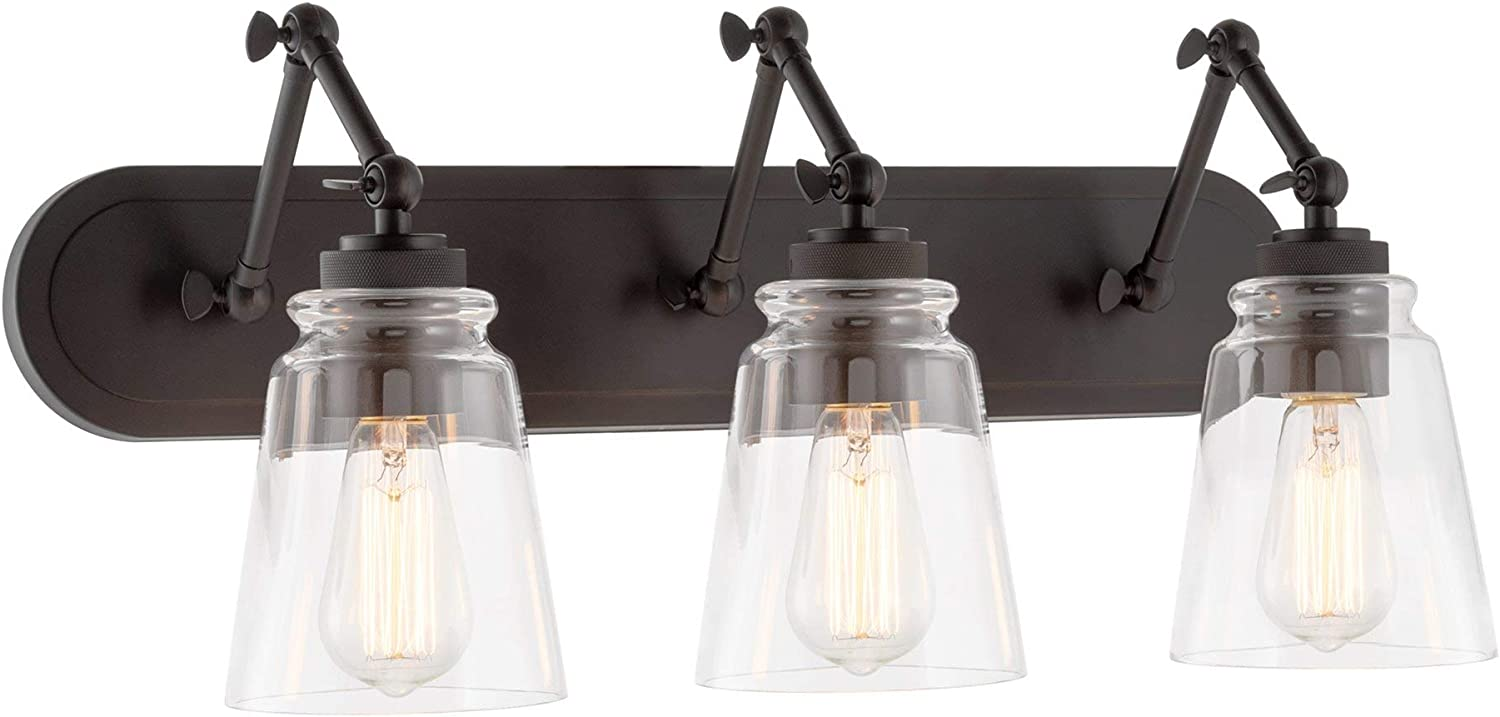 "Kira Home Elliot 24"" 3-Light Vintage Industrial Swing Arm Vanity/Bathroom Light + Clear Glass Shades, Oil Rubbed Bronze Finish"