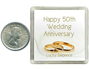 Lucky Sixpence Coin 50th Golden Wedding Anniversary Gift Great Present Idea