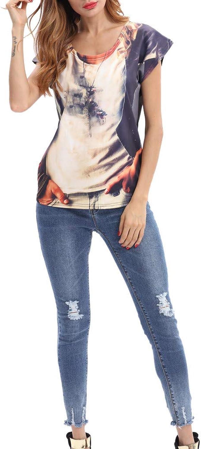 ZEELIY 2019 Sommer Damen Mode Kleider Kurzarm Schulterfrei Plissee T-Shirt L/ässige Top Bluse