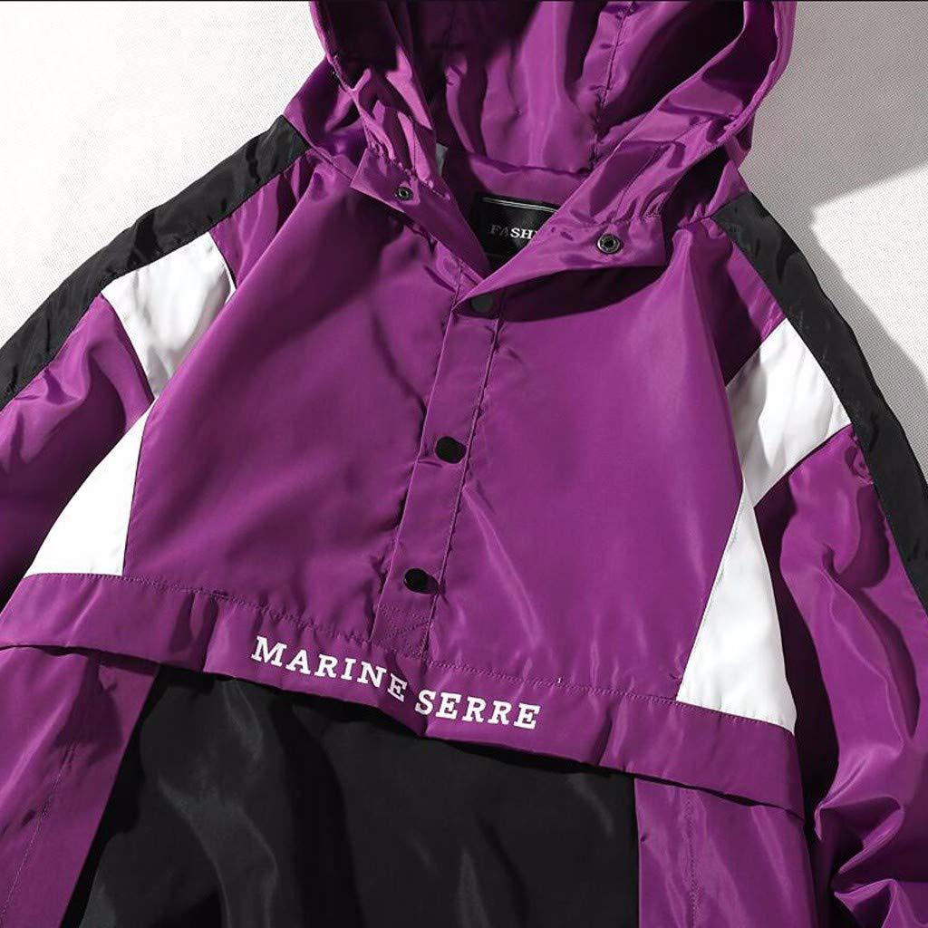 Coersd Mens Autumn Winter Casual Loose Hooded Patchwork Outdoor Sport Jacket Coat Tops