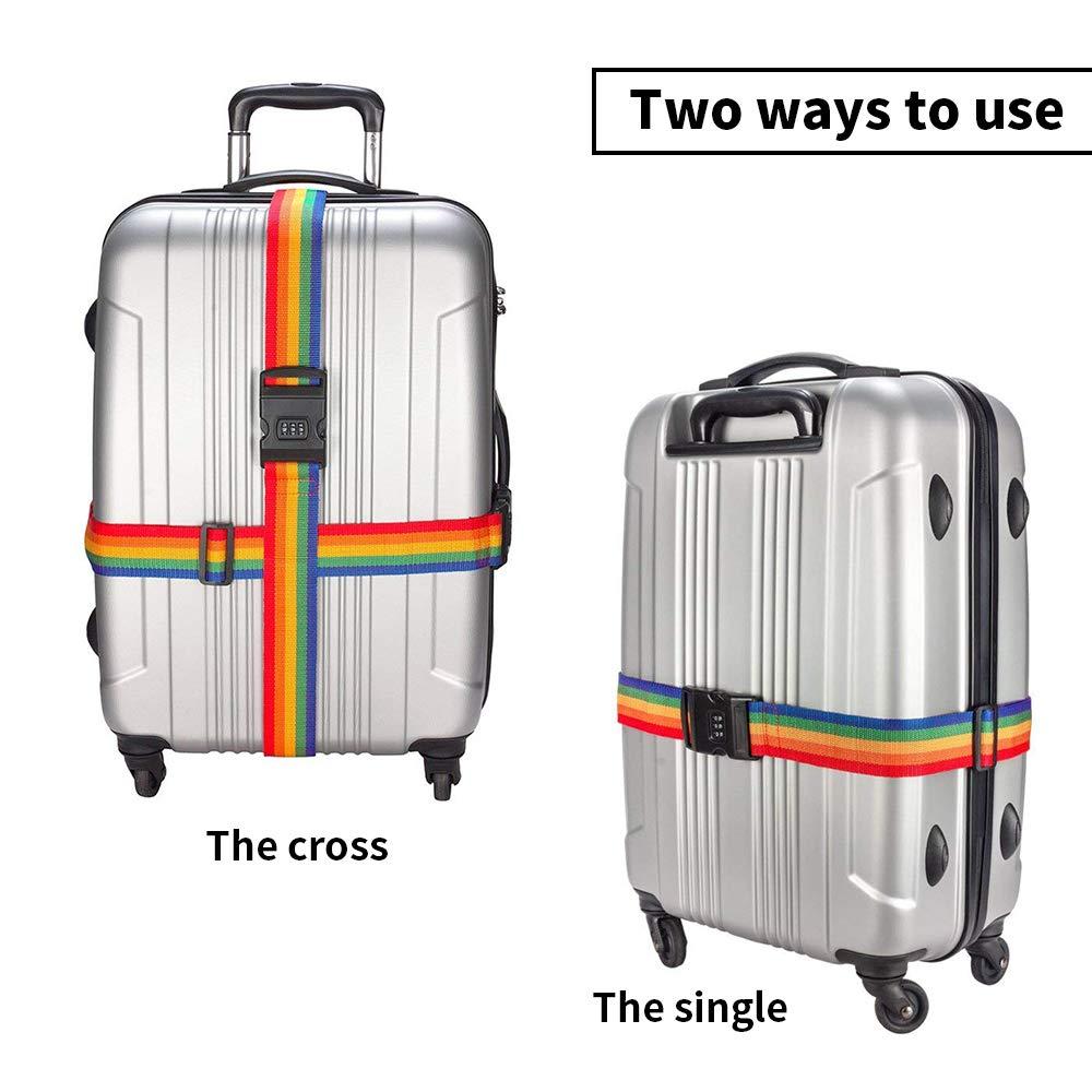 HuLuBB 2pcs Sangle de Bagage Valise Ceinture pour Valise Emballage Bande de s/écurit/é Ajustable avec 3 Chiffres Mot de Passe Clip Clip Accessoires de Voyage