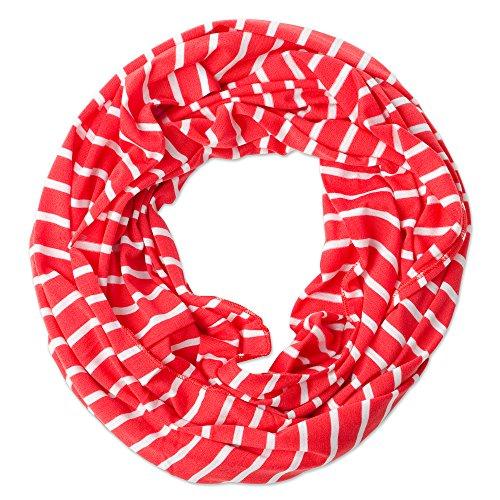 Stripe Knit Infinity Scarf - Tickled Pink Women's Game Day Sports Team Apparel Scarf or Wrap, Stripe Infinity/15x62, 15 x 62